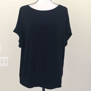 Eileen Fisher Oversized Black T-Shirt Blouse Top S